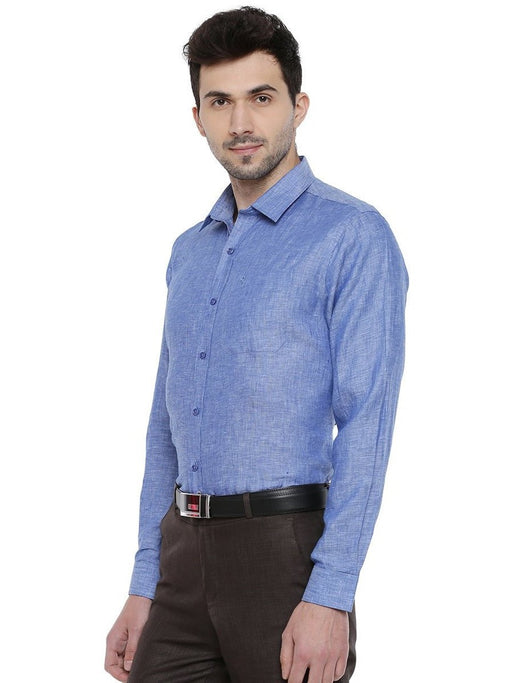 Linen Park 5605C Full Sleeves Shirt - Lapis Blue