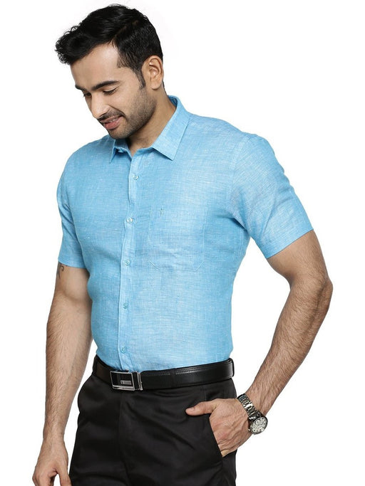 Linen Park 5605C Half Sleeves Shirt - Light Sea Green