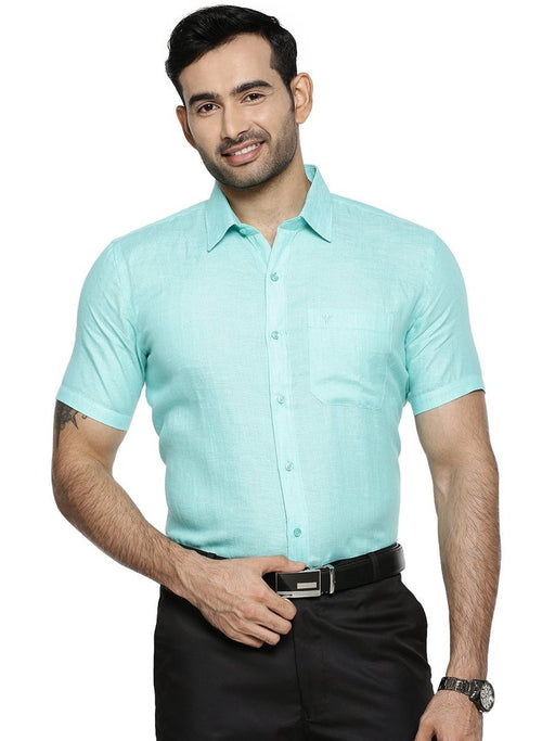 Linen Park 5605C Half Sleeves Shirt - LT Green