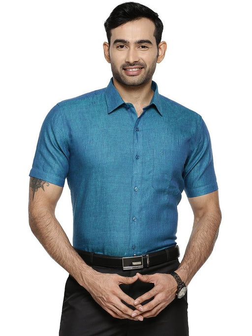 Linen Park 5605C Half Sleeves Shirt - Prussian Blue