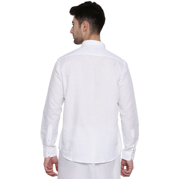 Linen Park 7447 White Full Sleeves Shirts (1359626600495)