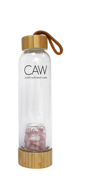 ROSE QUARTZ Crystal Dome Bamboo Waterbottle