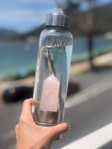 Rose Quartz Crystal Activated Water Bottle