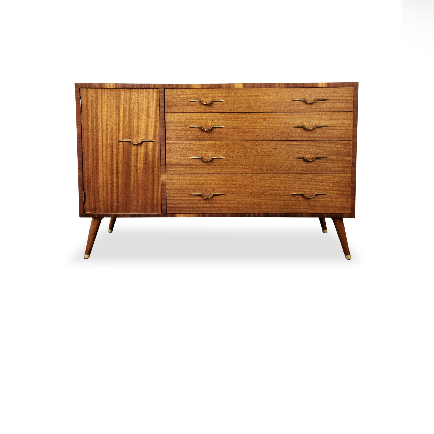 Mid Century Mahogany and Brass Sideboard