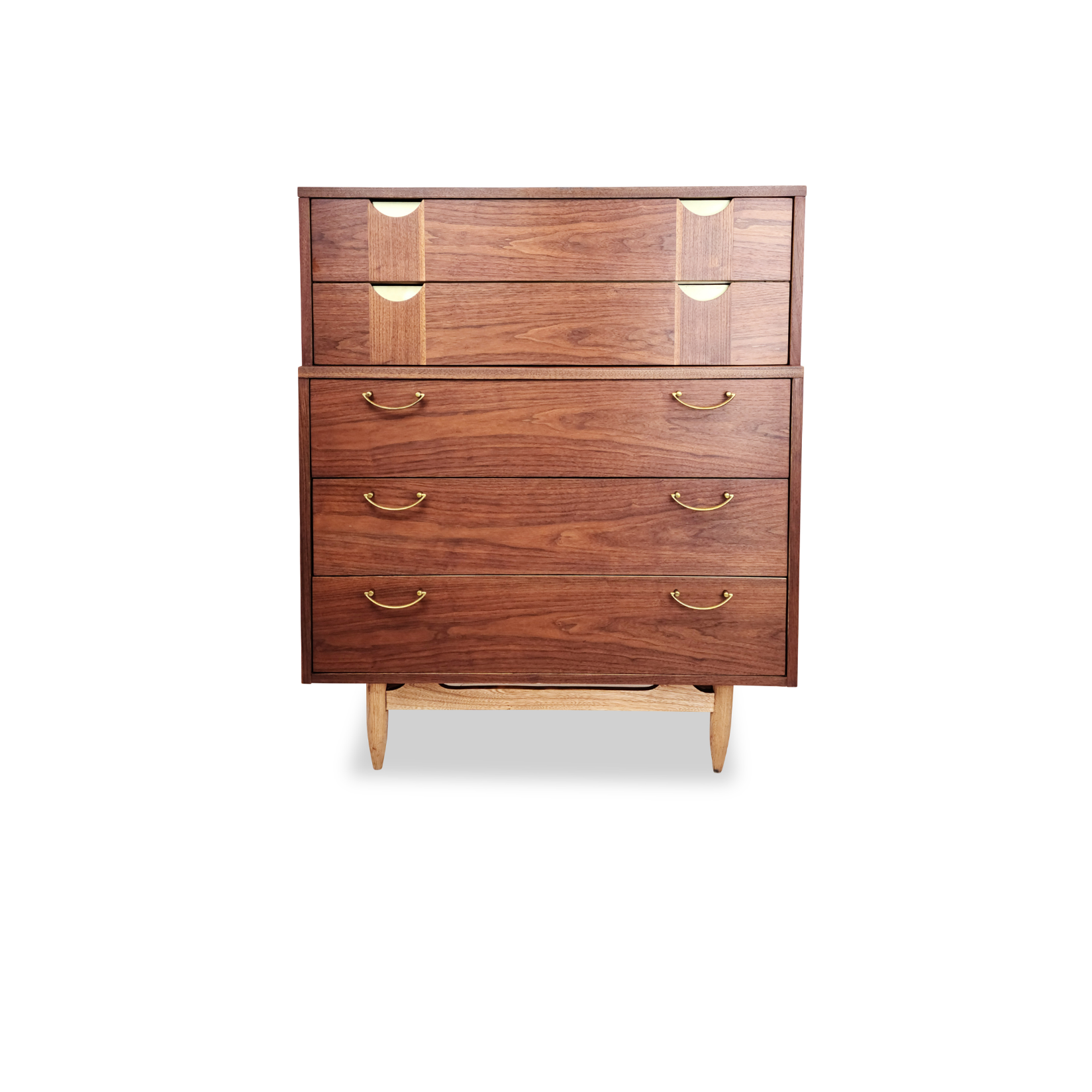 Vintage Walnut and Brass Highboy Dresser