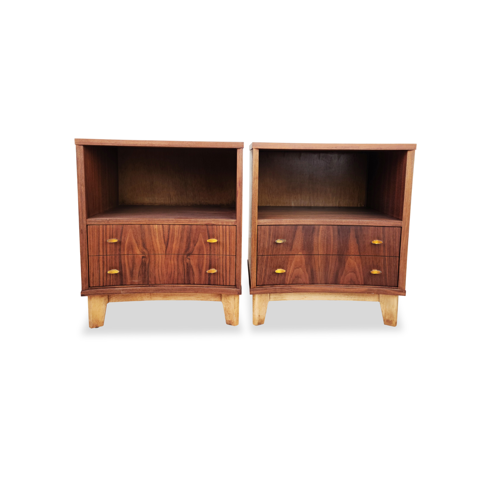 Pair of Walnut and Birch Nightstands