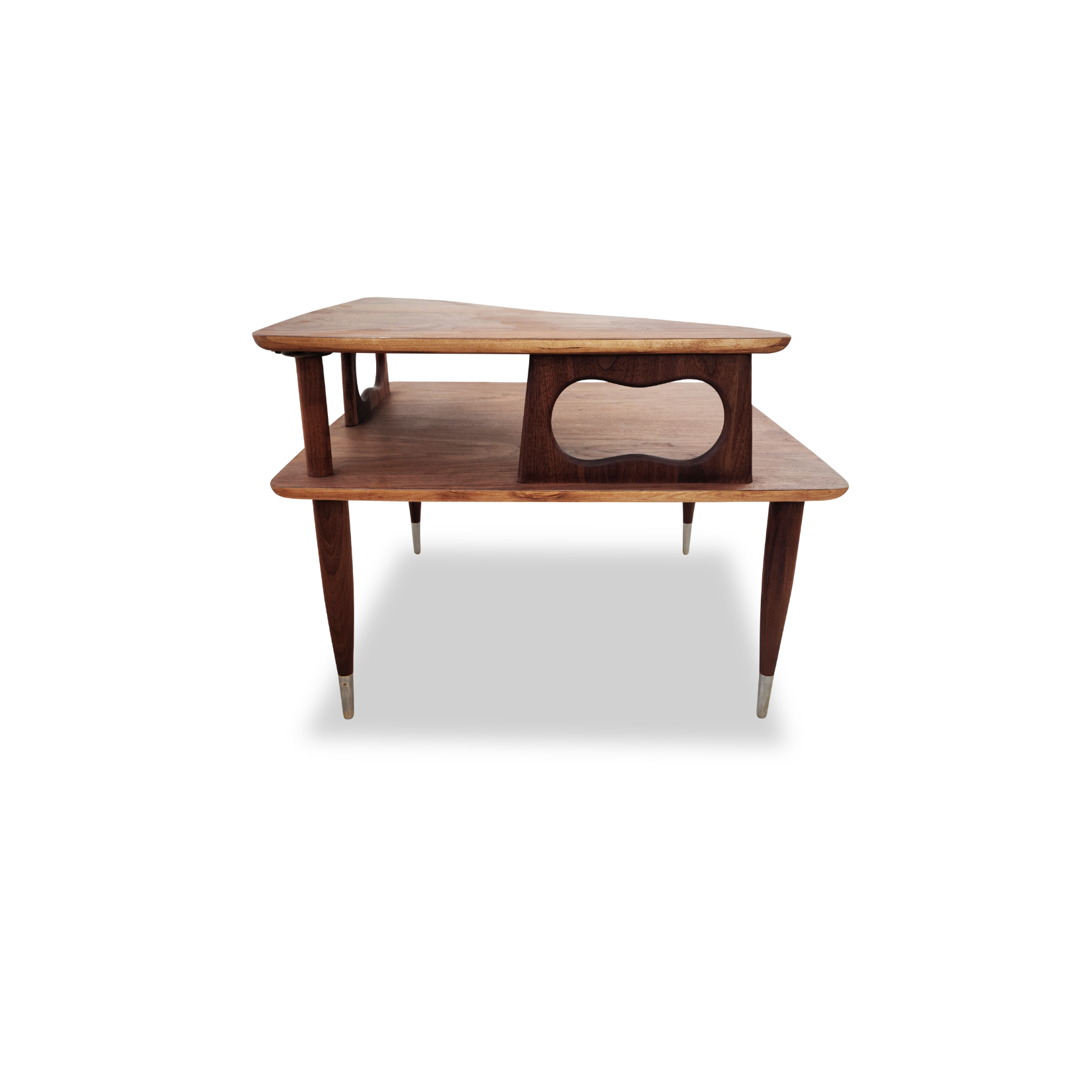 Walnut Two Tier Corner Coffee Table/Side Table