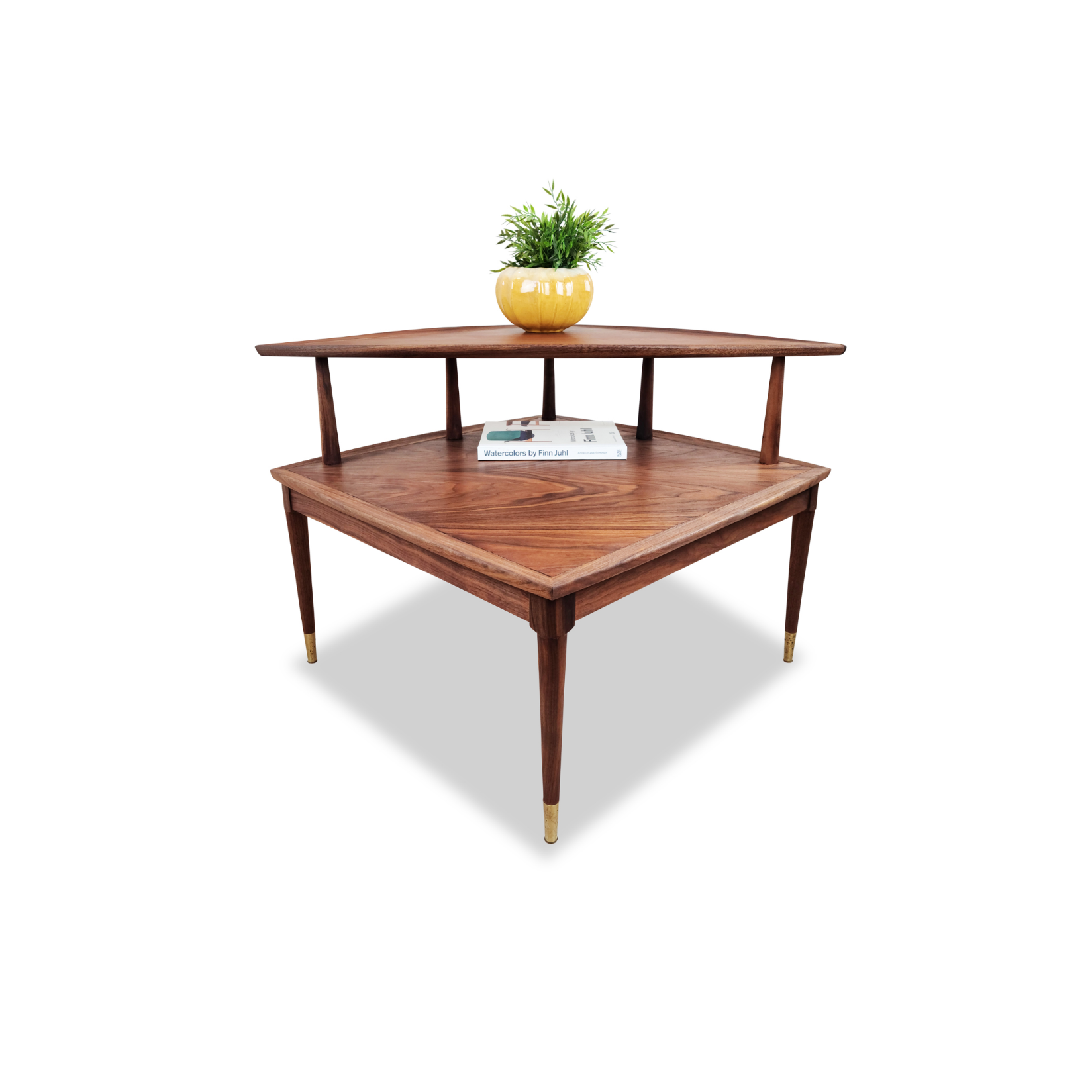 Walnut Corner Table by Deilcraft