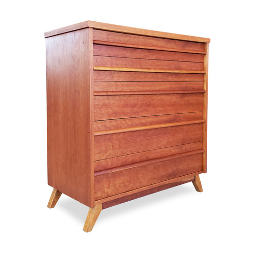Mid Century Cherry Wood Highboy
