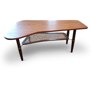 Vintage Teak Two-Tier Woven Coffee Table