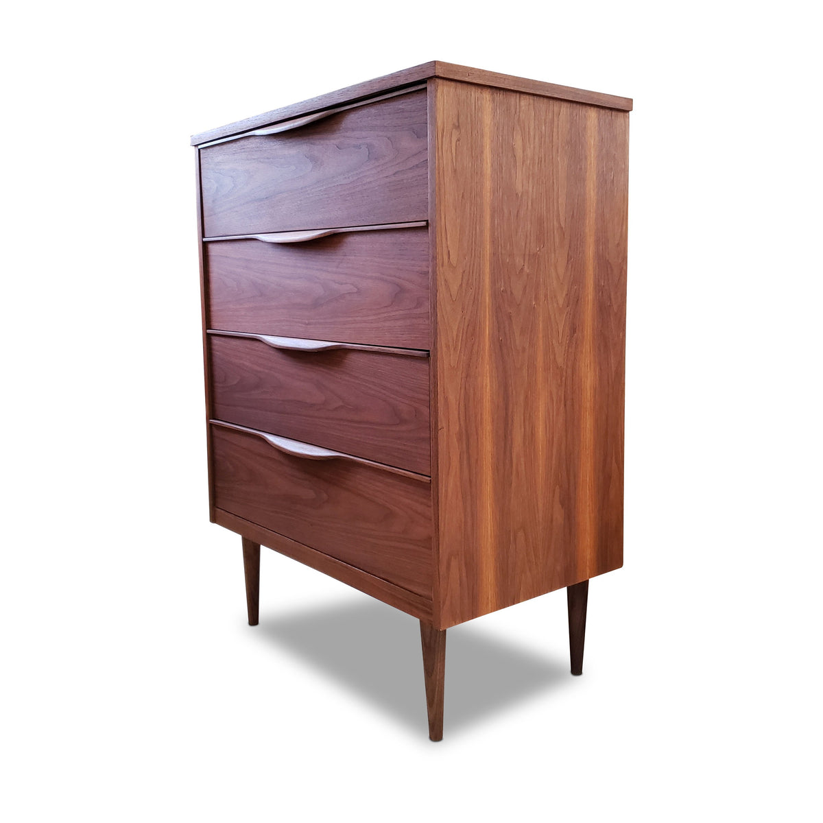 Mid Century Walnut Four Drawer Highboy