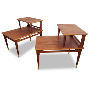 Vintage Mahogany Two Tier End Tables