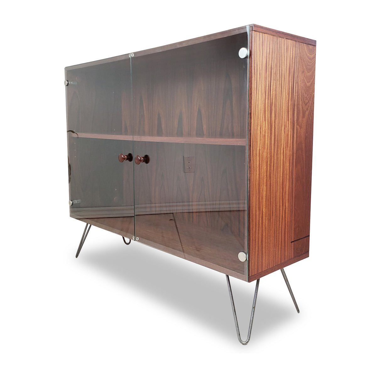 Rosewood Display Cabinet on Hairpin Legs