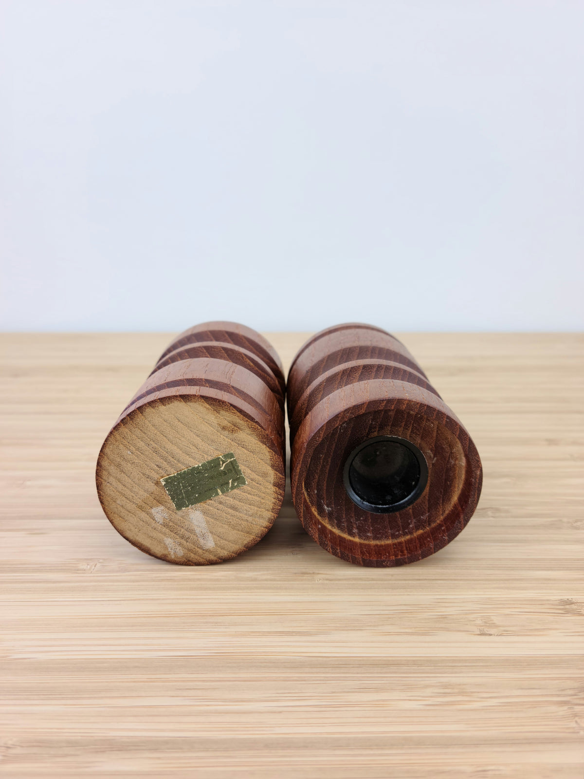 Pair of Teak Candle Holders