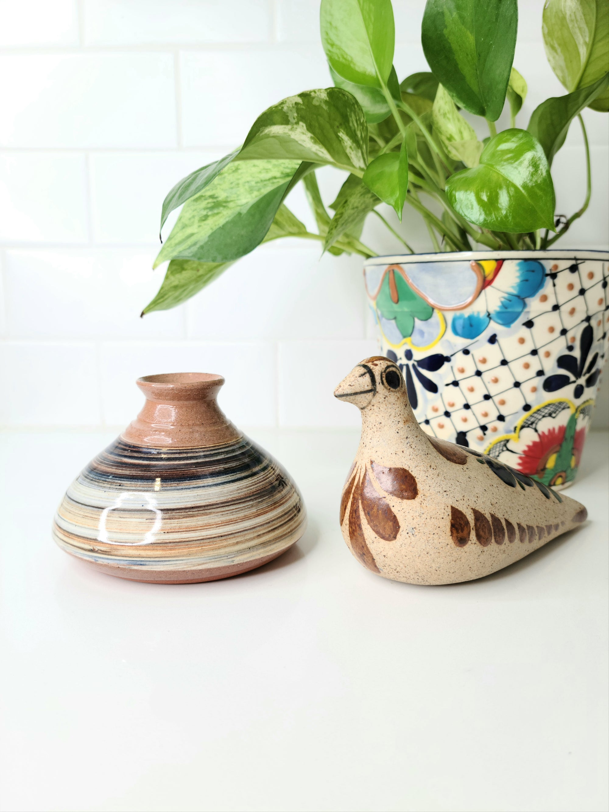 Mexican Tonala Bird and Earthenware Vase Combo