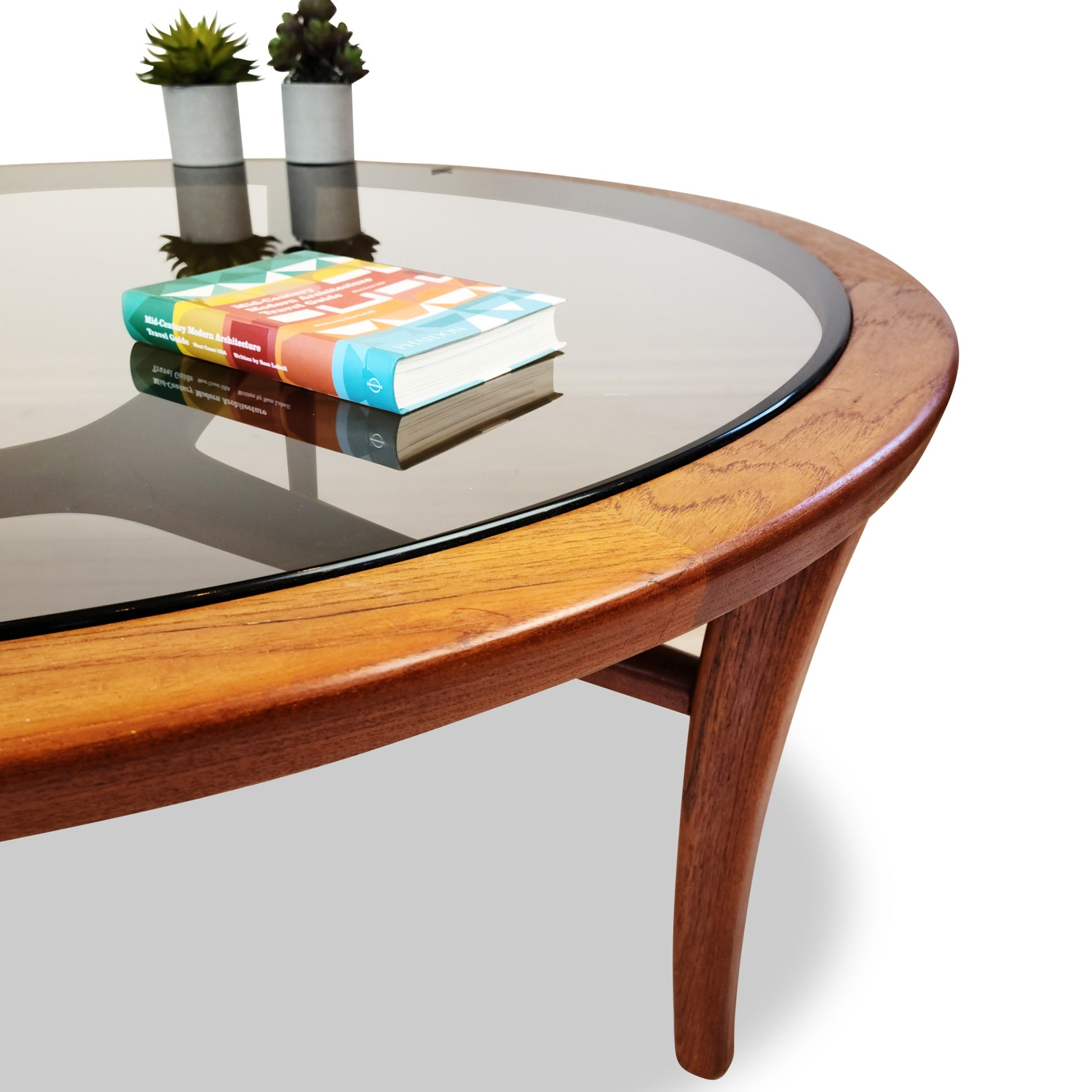 Vintage Teak Coffee Table with Tinted Glass