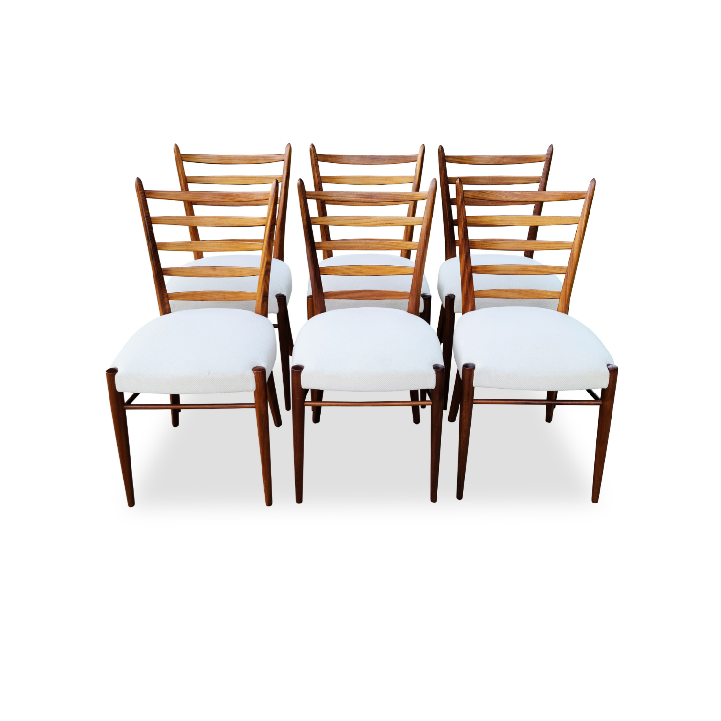 Mid Century Teak Ladder Back Dining Chairs