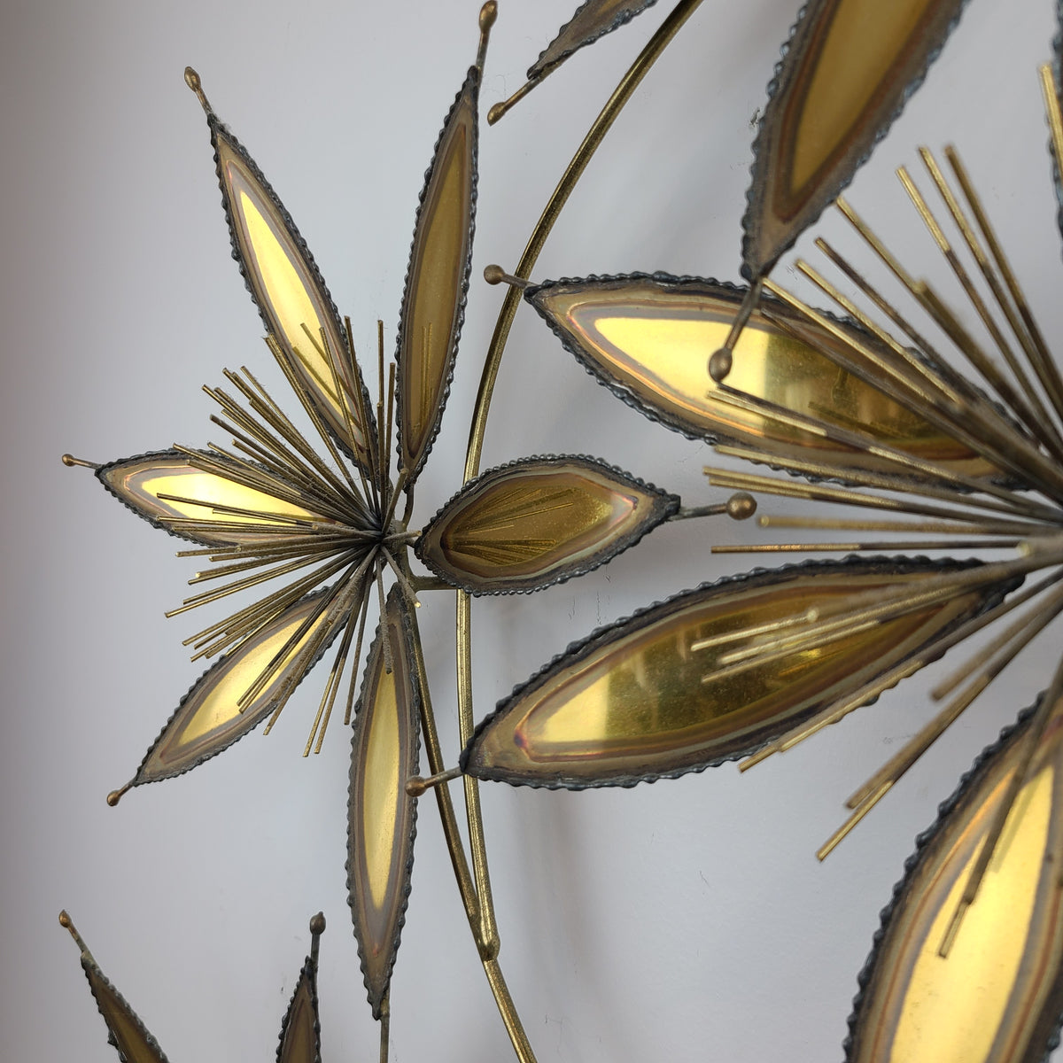 Vintage Brass and Copper Flower Wall Sculpture