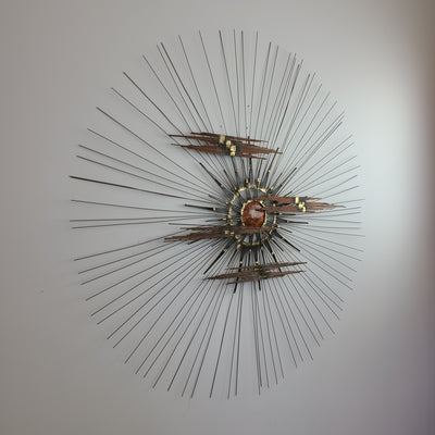 Brutalist Sunburst Wall Sculpture