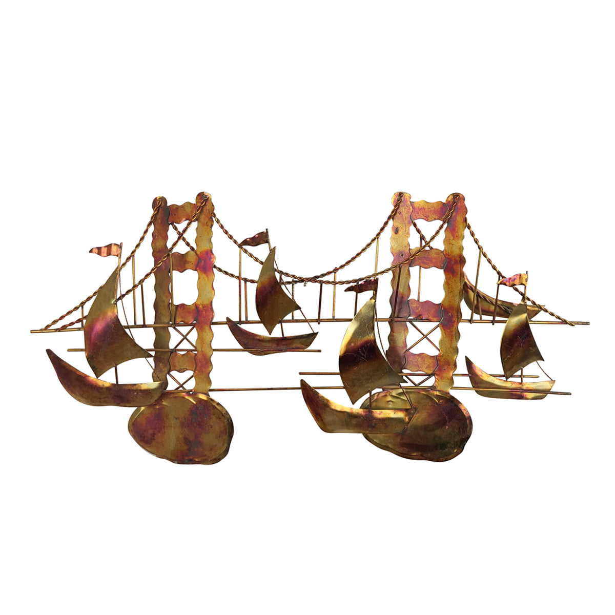 Vintage Bridge and Boats Wall Sculpture Curtis Jere