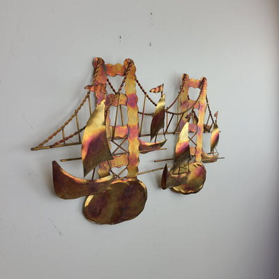 Vintage Bridge and Boats Wall Sculpture