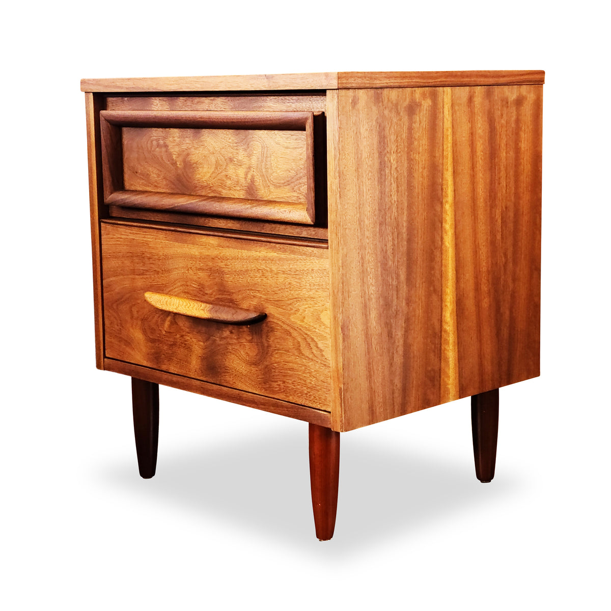 Walnut Two Drawer Nightstand