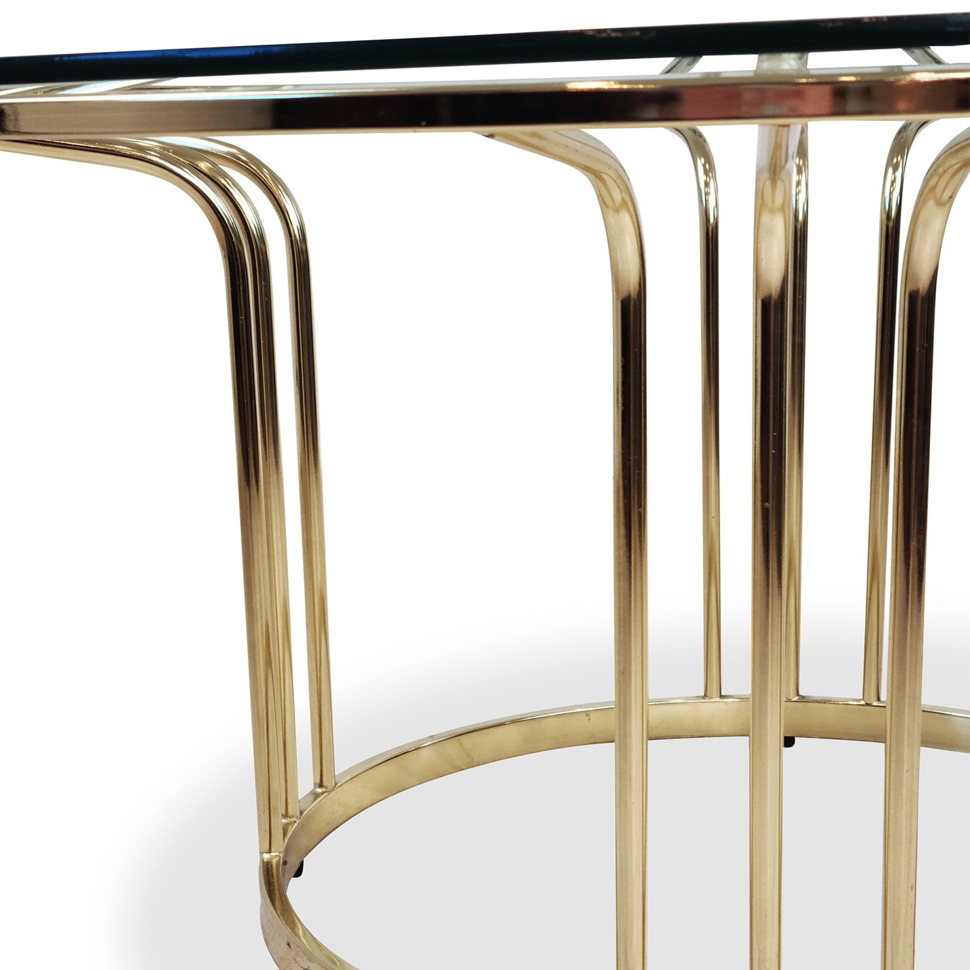 Vintage Brass and Glass Side Tables Hollywood Regency