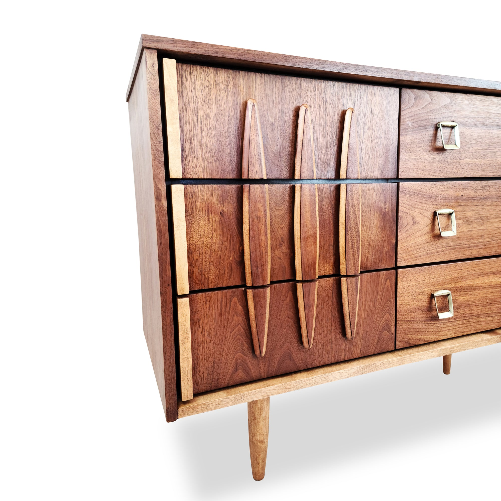 Vintage Walnut and Brass Dresser