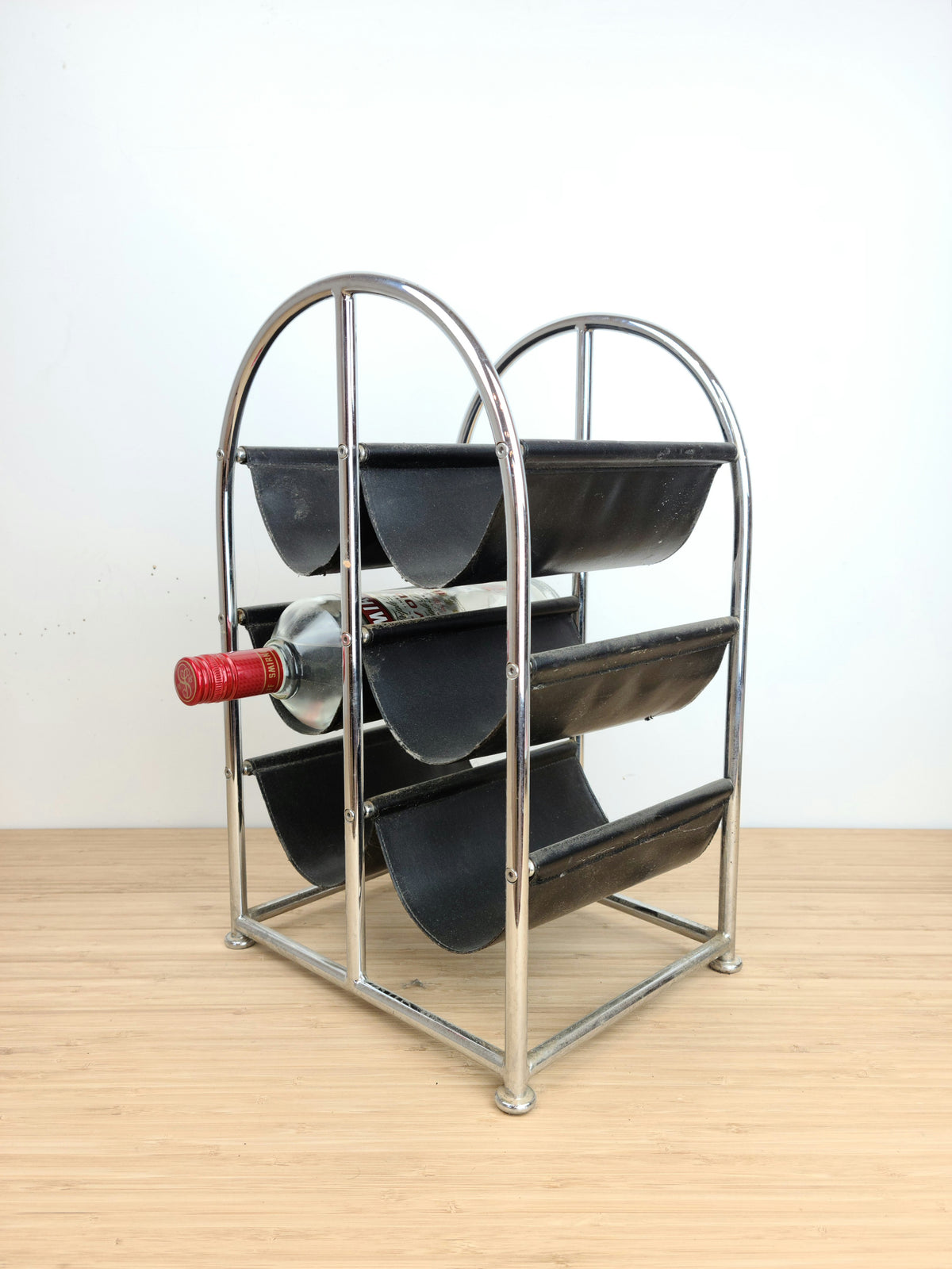 Vintage Chrome and Leather Wine Rack