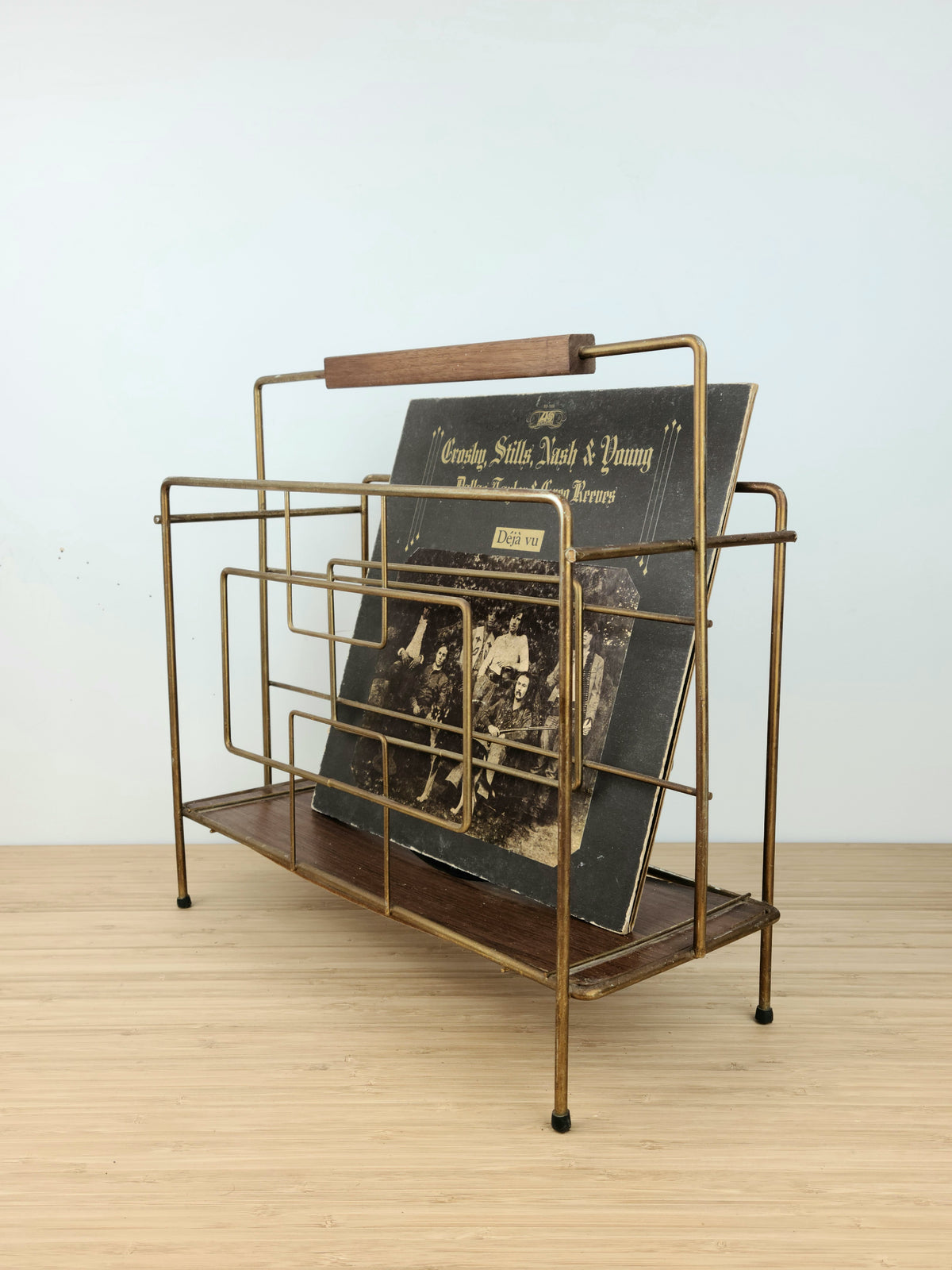 Vintage Brass and Walnut Stand
