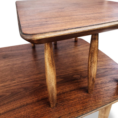 Walnut and Ash Two Tier End Table