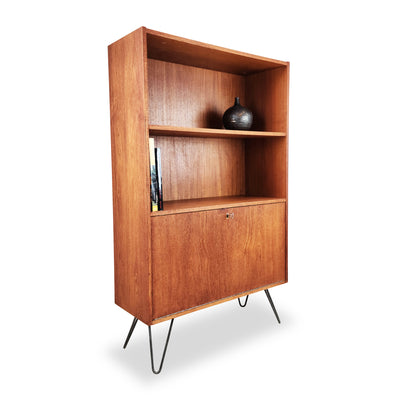 Teak Bookcase with Drop Down Bar