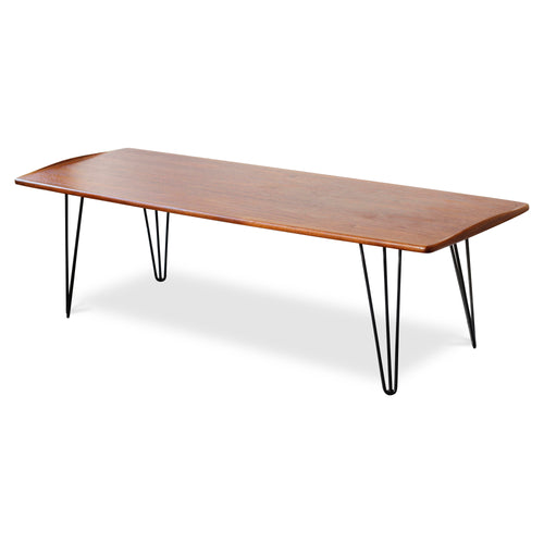 Teak Coffee Table with Hairpin Legs