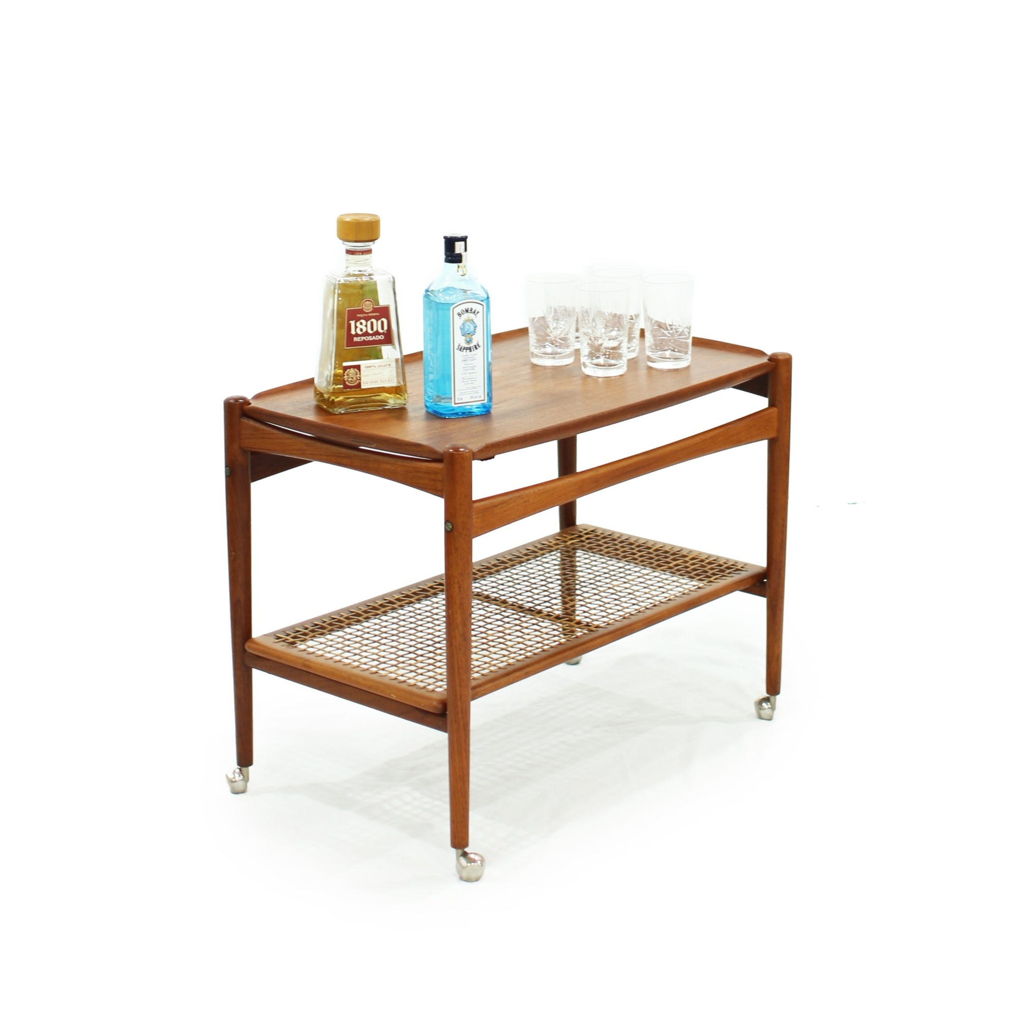 danish teak bar cartDanish Teak Bar Cart with Removable Tray