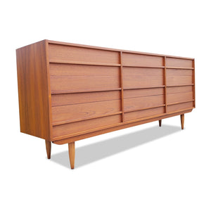 Mid Century Teak Nine Drawer Dresser