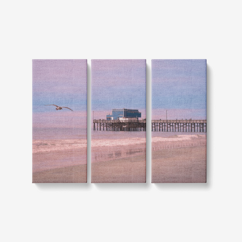 Newport Sunrise - 3 Piece Canvas Wall Art - Framed Ready to Hang 3x8