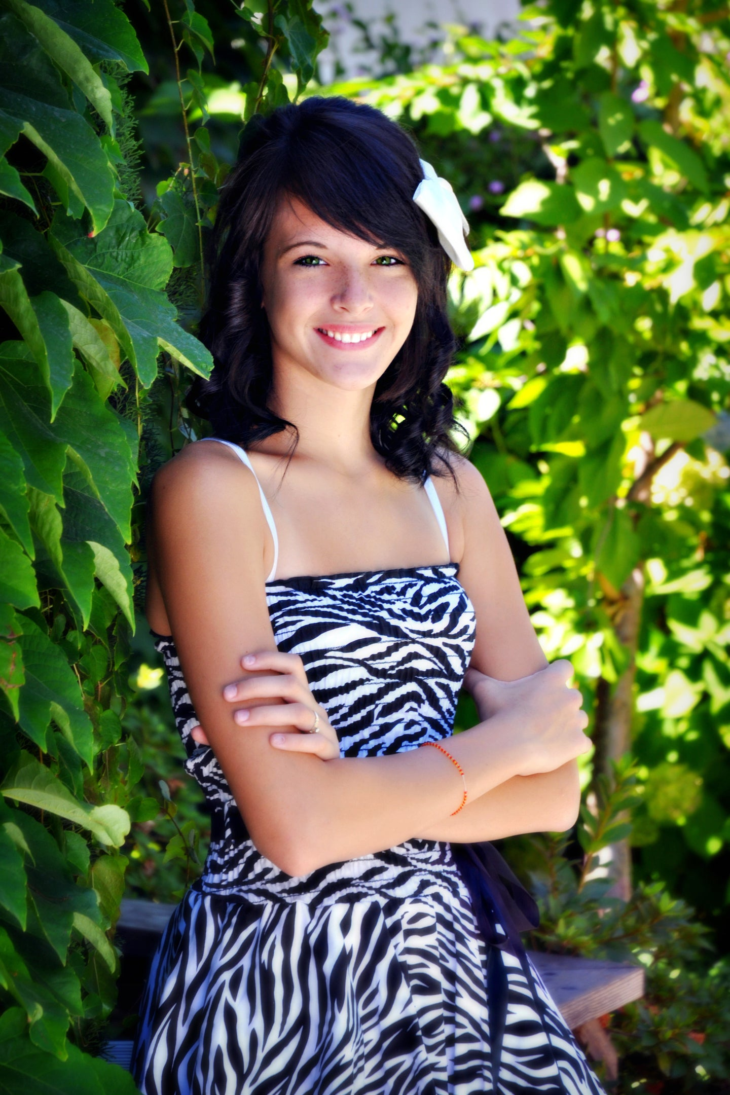 Smiling Girl with Zebra Party Dress