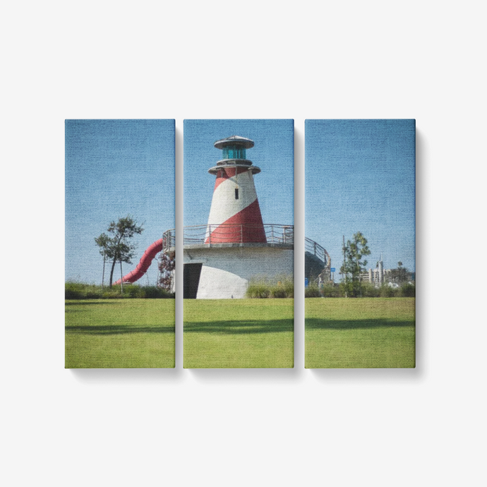 To the Lighthouse - 3 Piece Canvas Wall Art for Living Room - Framed Ready to Hang 3x8