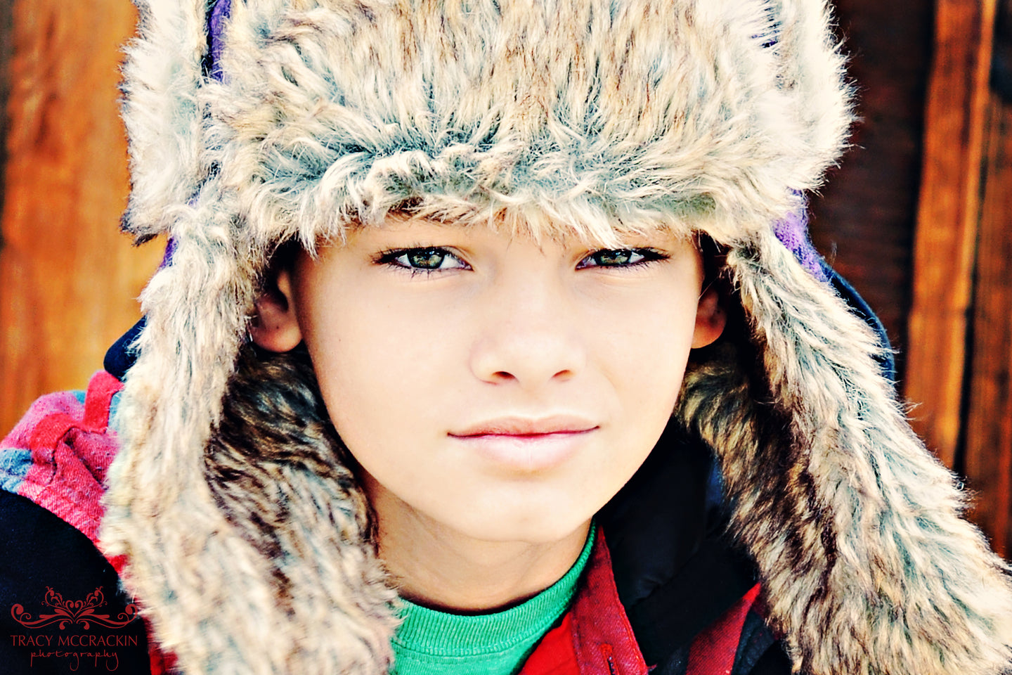 Boy Wearing Fur Hat - Tracy McCrackin Photography