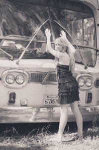 Girl with Hands on Bus Vintage BW - Tracy McCrackin Photography