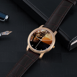 Sunset over the Mountains - 30 Meters Waterproof Watch With Brown Genuine Leather Band