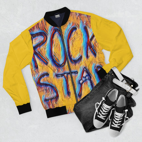 California Rock Star Graffiti Bomber Jacket (Yellow) - Tracy McCrackin Photography
