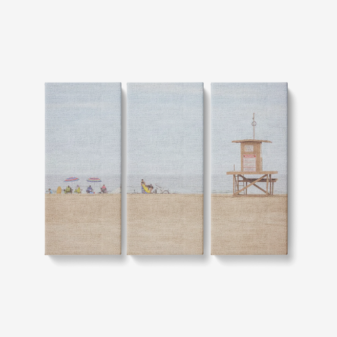 Whitewashed Beachy Summer's Day -3 Piece Canvas Wall Art for Living Room - Framed Ready to Hang 3x8