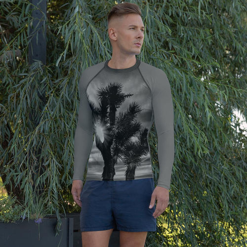 Joshua Tree Men's Rash Guard (B&W) - Tracy McCrackin Photography