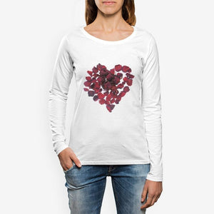 Women's Red Rose Heart Long sleeve T-shirt - Tracy McCrackin Photography