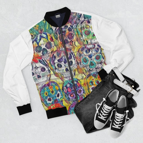 Skull Street Wear Bomber Jacket (White) - Tracy McCrackin Photography