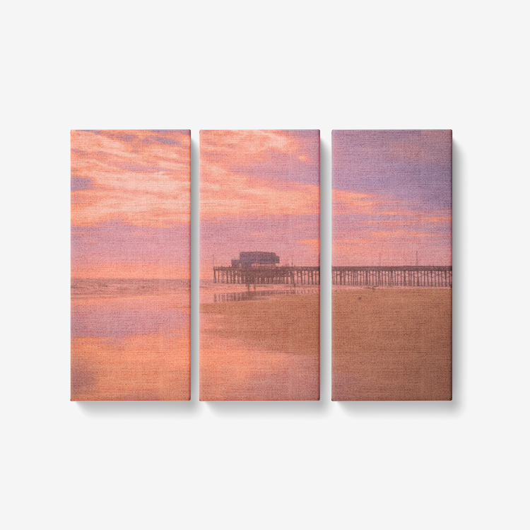 Faded Seaside Sunset - 3 Piece Canvas Wall Art - Framed Ready to Hang 3x8