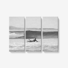 "Load image into Gallery viewer, B&W Ride the Wave - 3 Piece Canvas Wall Art - Framed Ready to Hang 3x8""x18"" - Tracy McCrackin Photography"