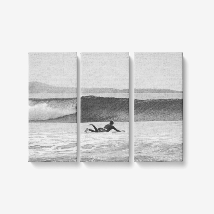B&W Ride the Wave - 3 Piece Canvas Wall Art - Framed Ready to Hang 3x8