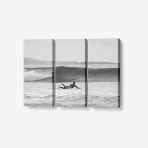 "B&W Ride the Wave - 3 Piece Canvas Wall Art - Framed Ready to Hang 3x8""x18"" - Tracy McCrackin Photography"